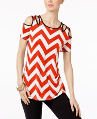 Ny Collection Cold Shoulder Cutout Blouse Zigzag Cherry Red