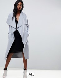 Missguided Tall Waterfall Coat Grey