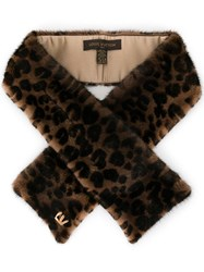 Louis Vuitton Vintage Leopard Logos Muffler Stole Shawl Brown