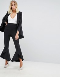 Lavish Alice Frill Fitted Trousers Black