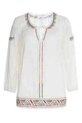 Velvet Embroidered Tunic White