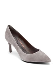 Rockport Total Motion Suede Point Toe Pumps Grey