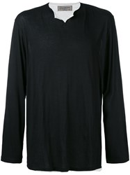 Yohji Yamamoto Raw Edge Cutaway Collar Sweater Men Silk Cotton Viscose 3 Black
