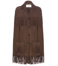 Saint Laurent Suede Cape Brown