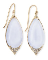 Jamie Wolf 18K Pave Point Drop Earrings With Blue Chalcedony