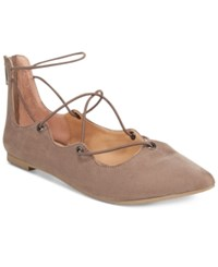 Material Girl Ibby Lace Up Flats Only At Macy's Women's Shoes Taupe