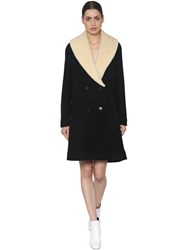J.W.Anderson Double Breasted Wool And Shearling Coat Black