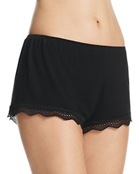 Only Hearts Club Feather Weight Rib Lace Trim Shorts Black