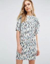 Warehouse Zig Zag Print Shift Dress Multi