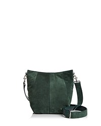 Halston Heritage Ali Medium Suede Bucket Bag Green Silver