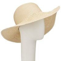 John Lewis Packable Weave Mix Floppy Sun Hat Natural