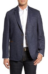 Flynt Men's Big And Tall Classic Fit Suede Trim Jersey Sport Coat Navy