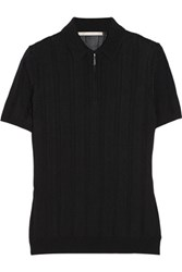 Jason Wu Ribbed Knit Polo Shirt Black