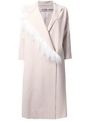 Nino Babukhadia Feather Mid Coat White