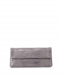 Nancy Gonzalez Gotham Crocodile Clutch Bag Grey Matte