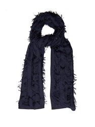 Chloe Fil Coupe Wool And Silk Blend Scarf Navy