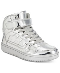 Madden Girl Slick Ultra Metallic High Top Sneakers Women's Shoes Silver Metallic