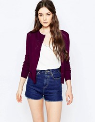 Sugarhill Boutique Fern Heart Pointelle Cardigan Wine Red