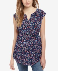 Motherhood Maternity Split Neck Tunic Ditsy Floral Navy