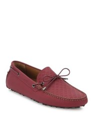 Bally Welney Tie Calf Leather Driving Moccasins Dark Red