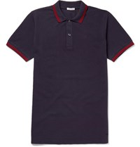 Tomas Maier Slim Fit Contrast Tipped Cotton Pique Polo Shirt Navy