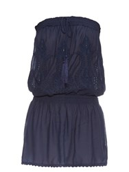 Melissa Odabash Embroidered Strapless Dress Navy