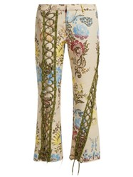 Marques Almeida Lace Up Floral Jacquard Trousers Cream Multi