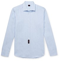 Massimo Piombo Mp Slim Fit Pinstriped Linen Shirt Blue