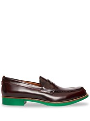 Burberry D Ring Detail Contrast Sole Leather Loafers Red