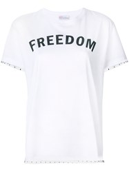Red Valentino Lace Trim Freedom T Shirt White