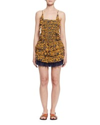 Etoile Isabel Marant Batson Tiered Floral Silk Mini Dress Yellow