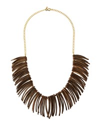 Kenneth Jay Lane Wooden Spike Bib Necklace Women's