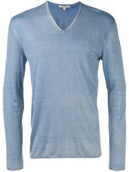 John Varvatos V Neck Jumper Blue