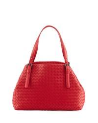 Bottega Veneta A Shape Woven Tote Bag Black Red