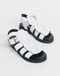 Bronx Leather Gladiator Sandals White