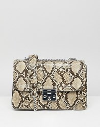 Stradivarius Snake Print Chain Shoulder Bag Multi
