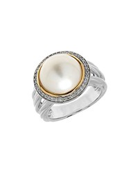 Lord And Taylor 11Mm White Freshwater Pearl Sterling Silver 14K Yellow Gold Ring