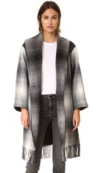 Alexander Wang Fringed Blanket Shawl Collar Coat Black And White
