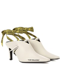 Off White For Walking Leather Mules White