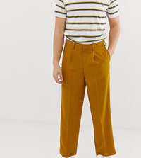 Noak Slim Fit Smart Trousers In Textured Mustard Yellow