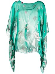 Class Roberto Cavalli Floral Print Draped Blouse Green