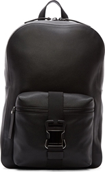 Christopher Kane Black Grained Leather Safety Buckle Backpack