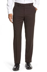 Men's Big And Tall Ballin Flat Front Solid Wool Trousers Brown