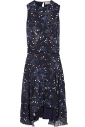 Preen By Thornton Bregazzi Imogen Asymmetric Flocked Printed Silk Chiffon Midi Dress Midnight Blue