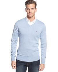 Tommy Hilfiger Big And Tall Signature Solid V Neck Sweater Cloud Heather