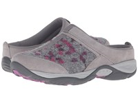 Easy Spirit Ez Time Light Grey Light Grey Suede Women's Clog Shoes Brown