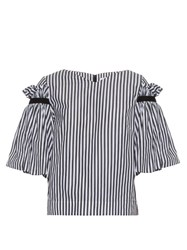 Osman Hilma Ruffled Striped Top Black White