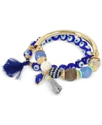 Inc International Concepts M. Haskell For Inc Gold Tone 2 Pc. Set Beaded Metal Bangle And Blue Evil Eye Tassel Bracelets Only At Macy's Blue Multi