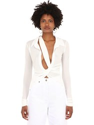 Jacquemus Sheer Stretch Jersey Shirt W Knot White