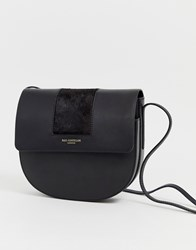 Paul Costelloe Real Leather Saddle Bag With Pony Trim Black